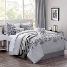 Light Gray Comforter Set Queen 8 Piece Zayden Gray Comforter Set With Throw