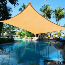 16x12ft outdoor rectangle sun sail shade patio canopy top cover desert sand
