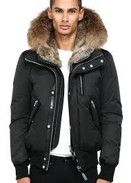fur hood jacket mens black winter down er larger image white