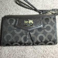 HP Coach Large Brown Op Art Wallet   Wristlet Large Coach wristlet   wallet.  Dark