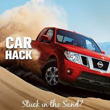 Car Hack Stuck In The Sand Use Your Floor Mat For Traction Or Let A Small Amount Of Air Out Of Your Tires To Increase Surface Area Car Hacks Driving Tips Car