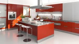 modern kitchen design with red high gloss cabinets and stainless steel countertops