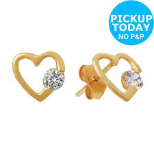details about revere 9ct gold cubic zirconia open heart stud earrings