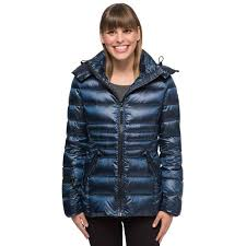 andrew marc women s short hooded down jacket urban blue large