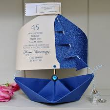 this cute sapphire anniversary paper boat card is so magnificent that it can be used as a keepsake as well the 45th wedding anniversary gift is made from