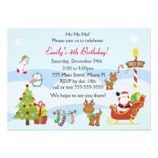 Christmas Birthday Party Invitations Kids Christmas Party Invitations Zazzle Uk