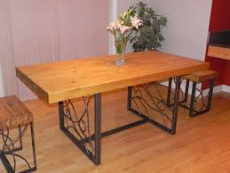 Kitchen:Large Rectangle Butcher Block Dining Table Top With Wrought Iron  Legs And Square Benches