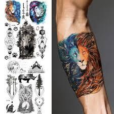 Akvarel Lev Galaxy Dočasné Tetování Nálepka Geometrické Horský Les Realistické Pro Muže Chlapec Módní Tělo Umění Malování Paže Nohy Pasu Hrudníku