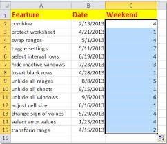 Weekday Size Chart How To Filter Weekdays And Weekend Days In Excel