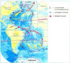 Климат свойства водных масс и органический мир Атлантического  Рис 24 Схема поверхностных течений в Атлантическом океане