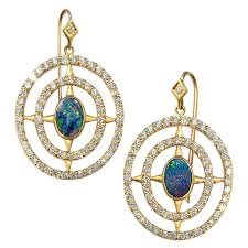 lauren harper boulder opal diamond matte gold axis earrings for