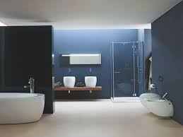 Dark Blue Bathroom Bathroom With White Pedestal Sink And Glass Shelf And Cabinet With