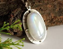 artisan large rainbow moonstone silver pendant necklace