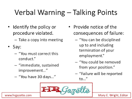Written Verbal Warning Sample How To Deliver A Verbal Warning To An Employee Plus Talking