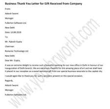 Thank You Letter For Gift From Company Business Thank You