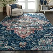 fusion bohemian navy pink rug rana hand hooked area