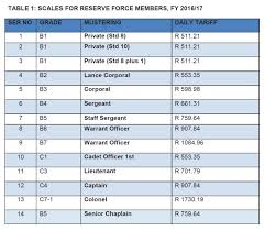Air Force Pay Chart 2010 Sandf Full Time And Reserve Force Rank And Salary Levels