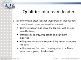 Qualities Of A Good Team Leader Available At 6 1 Lead A Competitive Vex Team Lead A