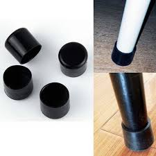 Black 22mm Chair Leg Caps PVC Plastic Feet Protector Pads