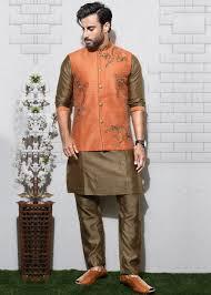 Designer Kurta Pajama With Basket Brown Kurta Pajama With Nehru Jacket