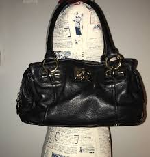 details about b makowsky black leather purse with gold silver tone hardware