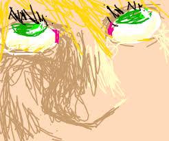 blonde hair green eye