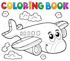 coloring book airplane theme stock vector 54949222