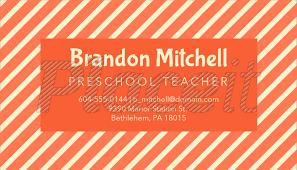 Business Card Template For Pre K Teachers 575e