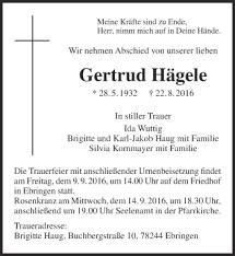 Traueranzeige Jahresgedenken Gertrud Hägele Spruch Trauer