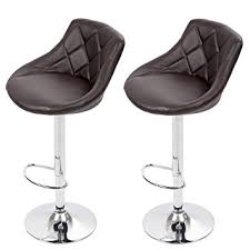 BestMassage Bar Stool Adjustable Height Leather Stools With Seat Back  Pad Leather Bar Stools Back H44