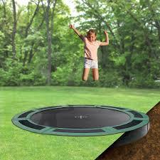 8ft round inground trampoline with half enclosure in ground trampolines trampolinepartsandsupply com