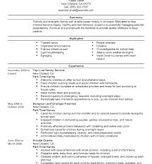 Example Of Nanny Resumes Nanny Sample Resume Airexpresscarrier Com