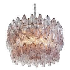 pair of carlo scarpa extra large 245 murano glass pieces poliedri chandeliers