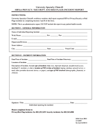 Hipaa Incident Report Form Forms Document Templates To Submit