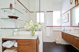glass shelves bathroom wall floating glass shelves bathroom contemporary with floating vanity flush cabinets image by studio glass and chrome bathroom wall