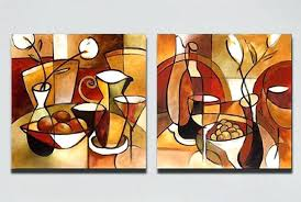paintings for kitchen 2 panels hand painted modern abstract oil painting canvas flower cup pictures home paintings for kitchen