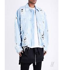 denim jackets fashion unravel men unravel distressed denim jacket blue m141j