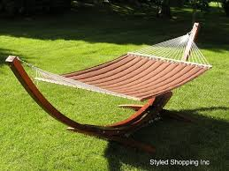 two person hammock with stand. Amazoncom Deluxe Wood Arc Hammock Stand Including Two Person Brown Quilted Garden Outdoor Inside With