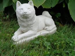concrete shiba inu dog statuary