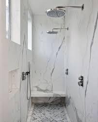 sleek modern marble shower bench ideas