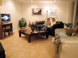 basement floor tiles installed in a family room