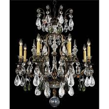 schonbek renaissance heirloom bronze nine light olivine and smoke topaz crystal rock crystal chandelier
