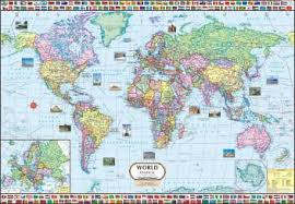 World Map Political Wall Chart Paper Print