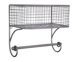 details about black iron wire wall basket with rod rustic vintage home decor new