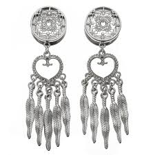 Dream Catcher Tunnels Pair CHIC Retro Dream Catcher Feathers Dangle Ear Plugs Flesh 74