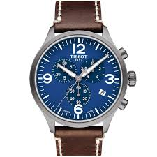 tissot tissot chrono xl 45mm blue dial leather strap men s chronograph watch