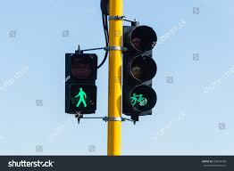 Walking Sign Light Traffic Light Which Sign Walking Bicycle Stock Photo Edit
