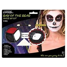 fancy dress vip day of the dead makeup kit with tattoo transfers accessory