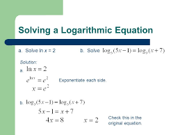 7 solving a logarithmic equation