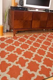 picture of jaipur maroc flat weave moroccan pattern wool orange ivory rug mr47